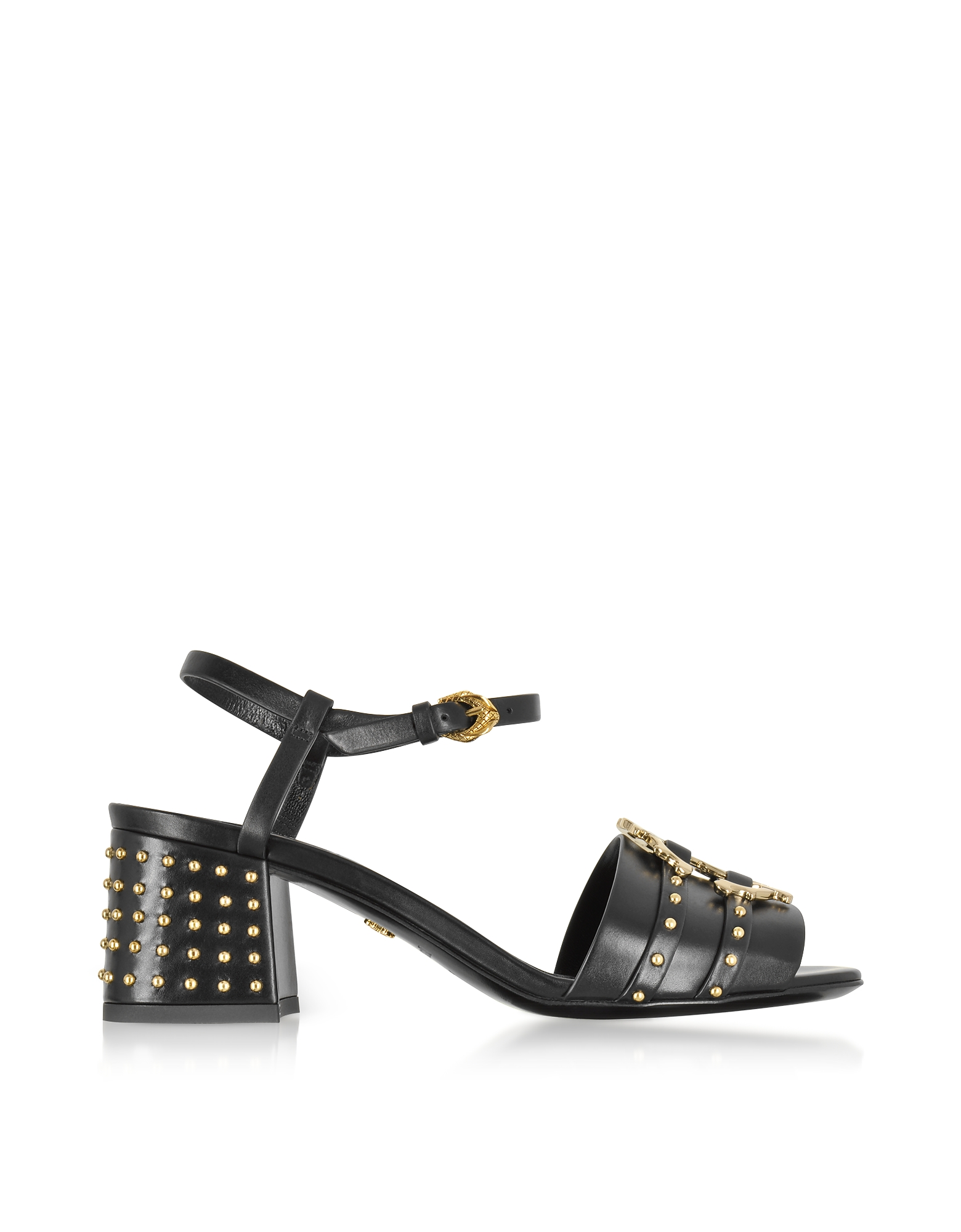 Roberto Cavalli Shoes, Black Leather Studded Sandals