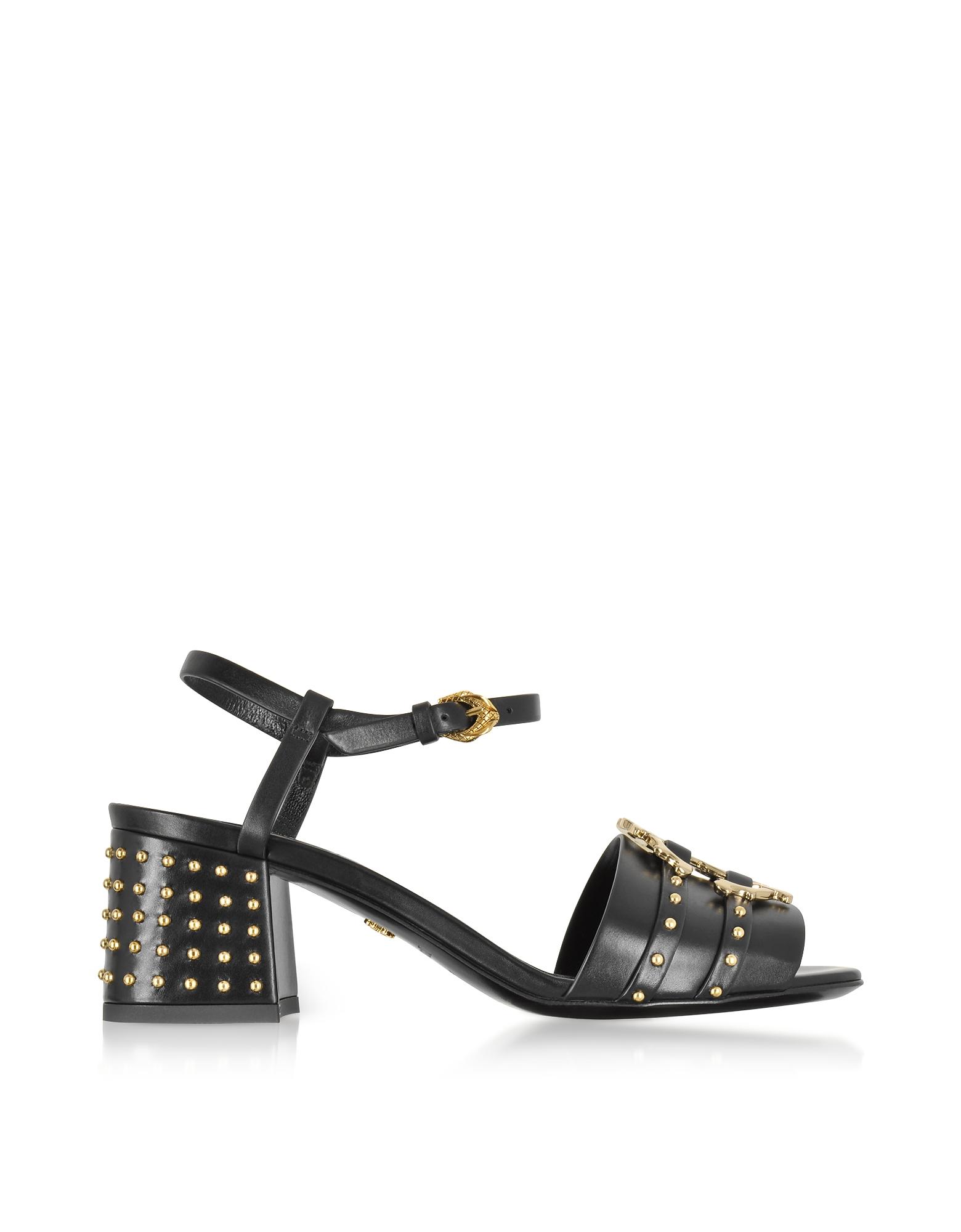 Roberto Cavalli Shoes, Black Leather Studded Sandals