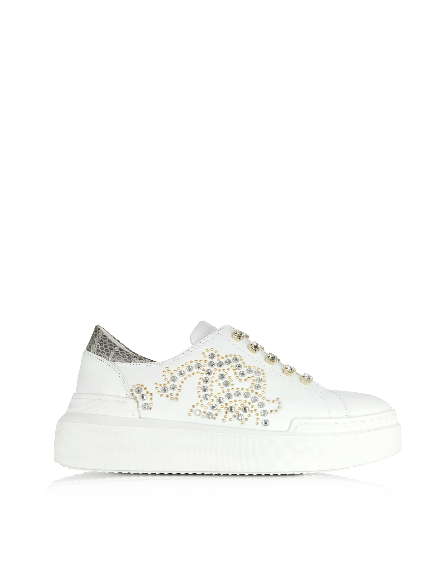 Roberto Cavalli Shoes, Pure White Leather and Crystals Slip on Sneakers