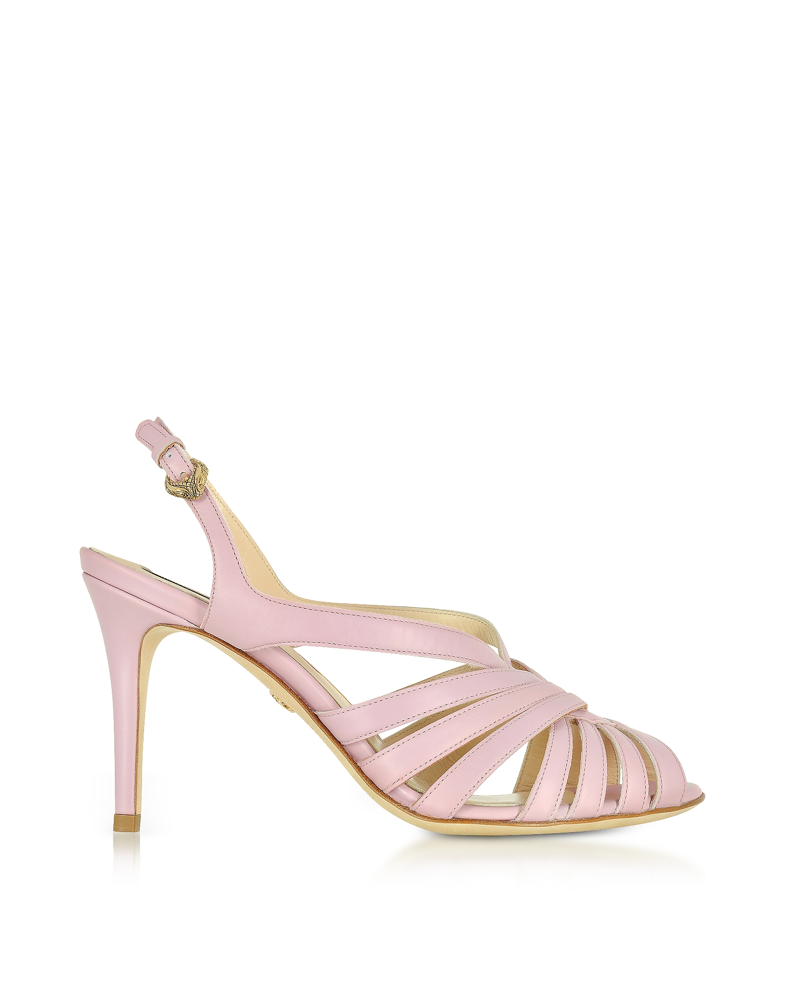 Roberto Cavalli Designer Shoes, Mauve Leather Sandals