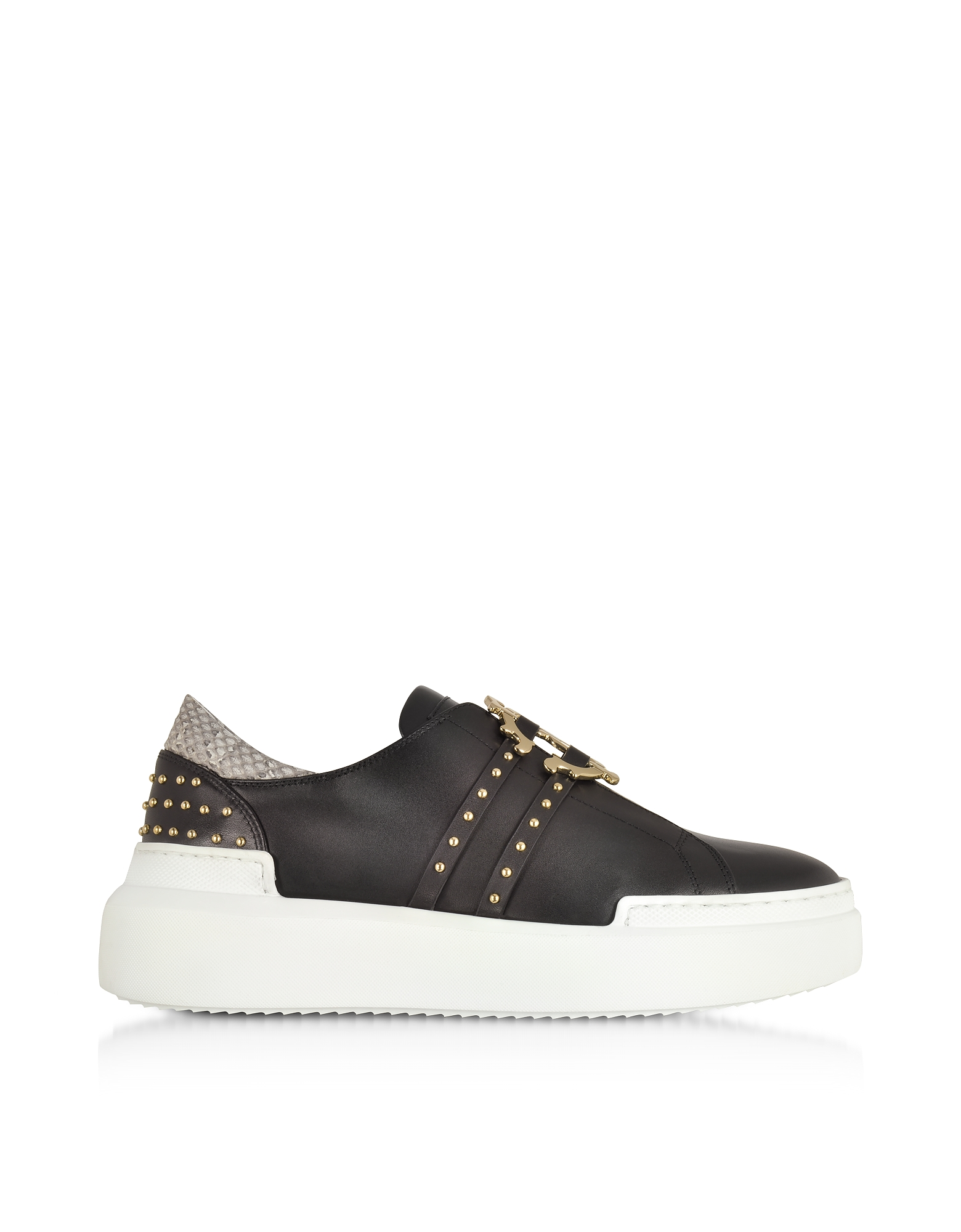Roberto Cavalli Shoes, Black Signature Slip on Sneakers w/Studs