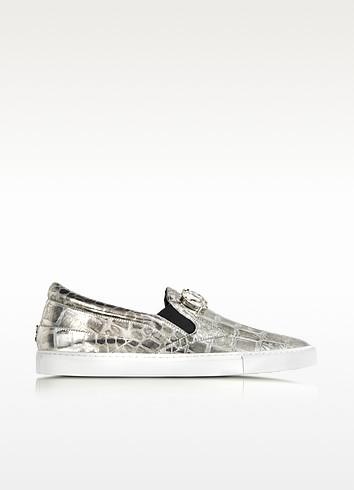 Crystal Sport Embossed Silver Leather Slip-on Sneaker w/Crystals   - Roberto Cavalli