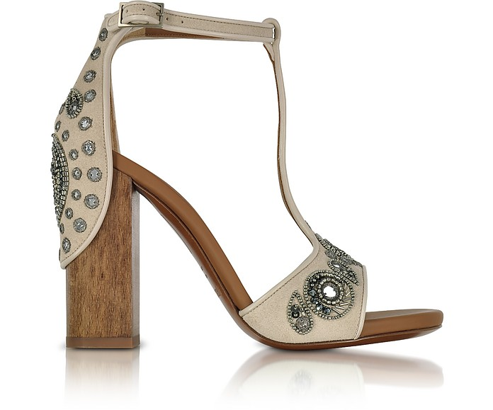 Skin Suede High Heel Sandals w/Embroidered Beads - Roberto Cavalli