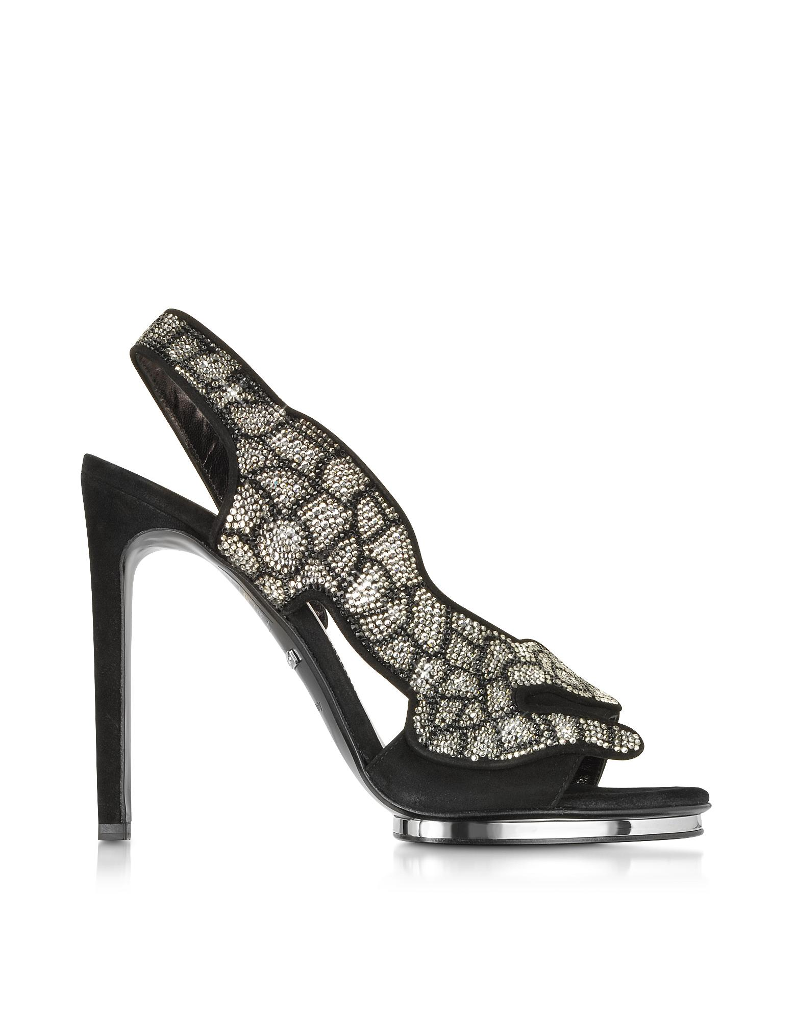 Black Suede and Crystals Panther Sandal - Roberto Cavalli