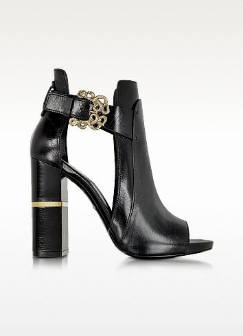 Serpent Black Leather Sandal - Roberto Cavalli