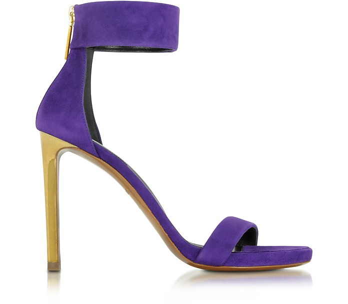 Evening Purple Suede Sandal - Roberto Cavalli