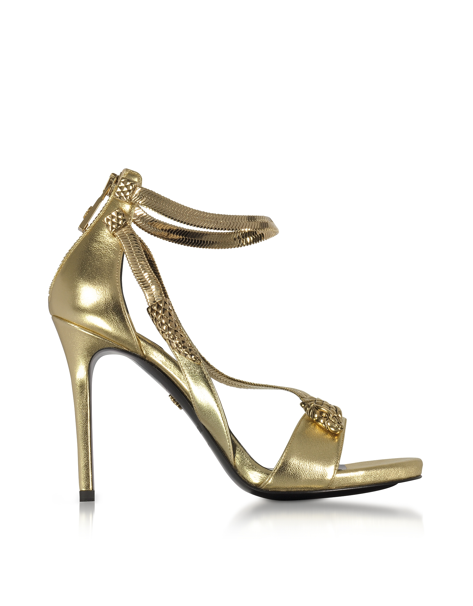 Roberto Cavalli Shoes, Golden Laminated Leather High Heel Snake Sandals