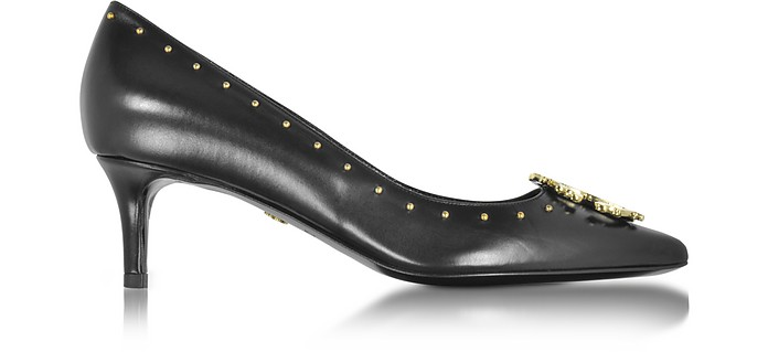 Black Leather Studded Mid Heel Pump - Roberto Cavalli