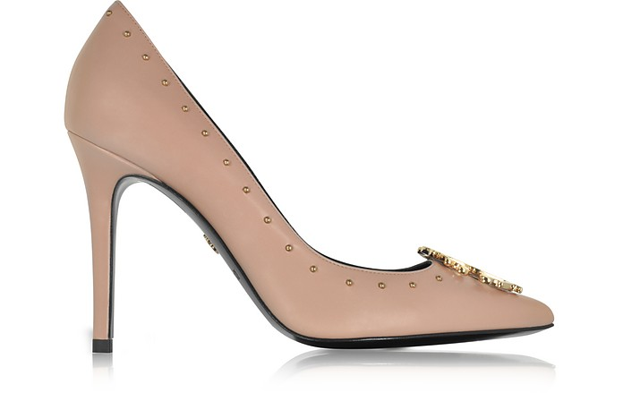 Cappuccino Studded Leather High Heel Pump - Roberto Cavalli