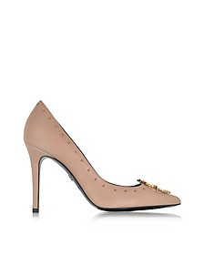 Cappuccino Studded Leather High Heel Pump - Roberto Cavalli