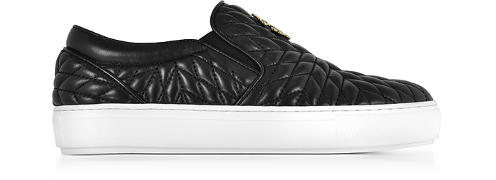 Black Nappa Star Quilted Leather Slip On Sneakers - Roberto Cavalli