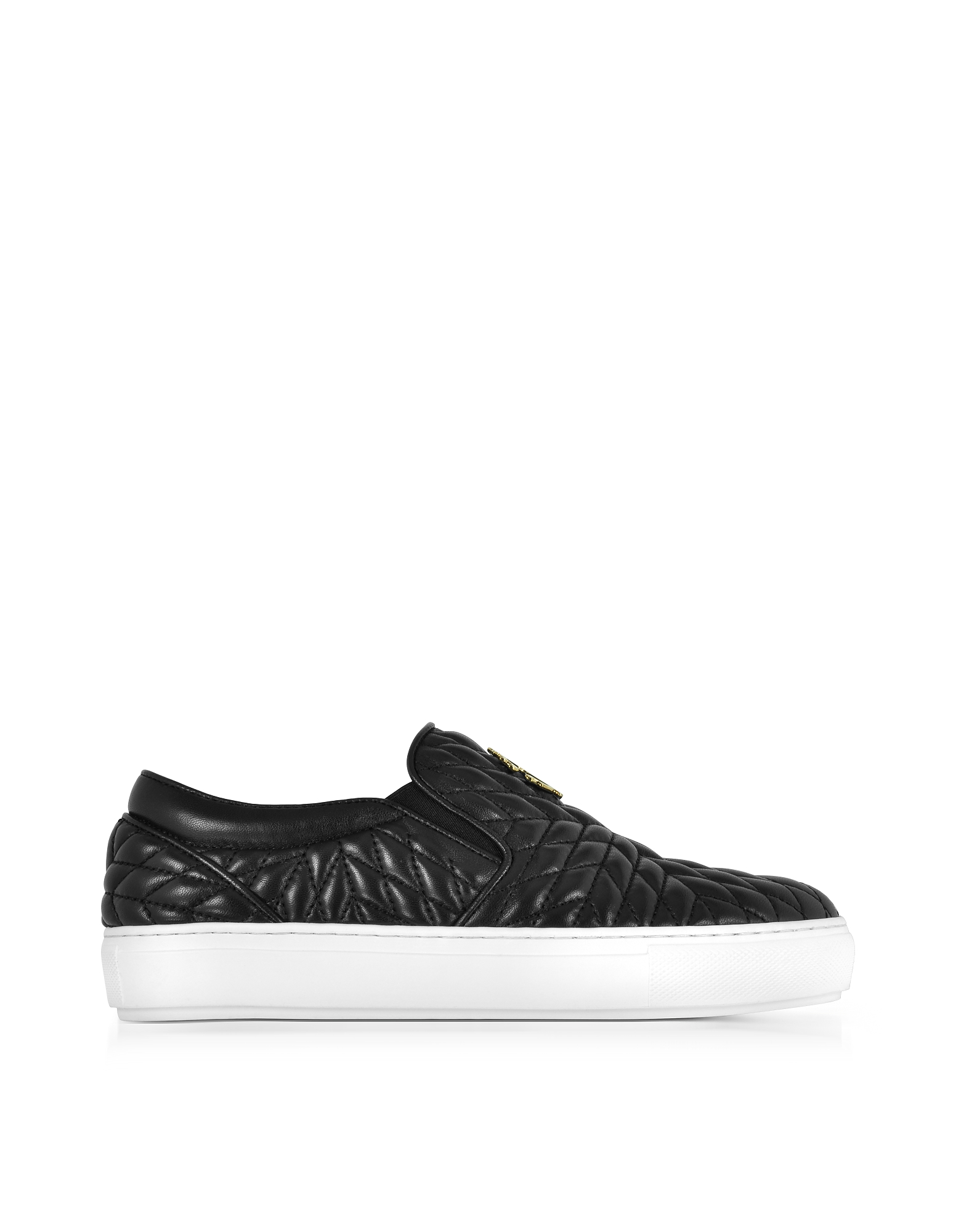 Roberto Cavalli Shoes, Black Nappa Star Quilted Leather Slip On Sneakers