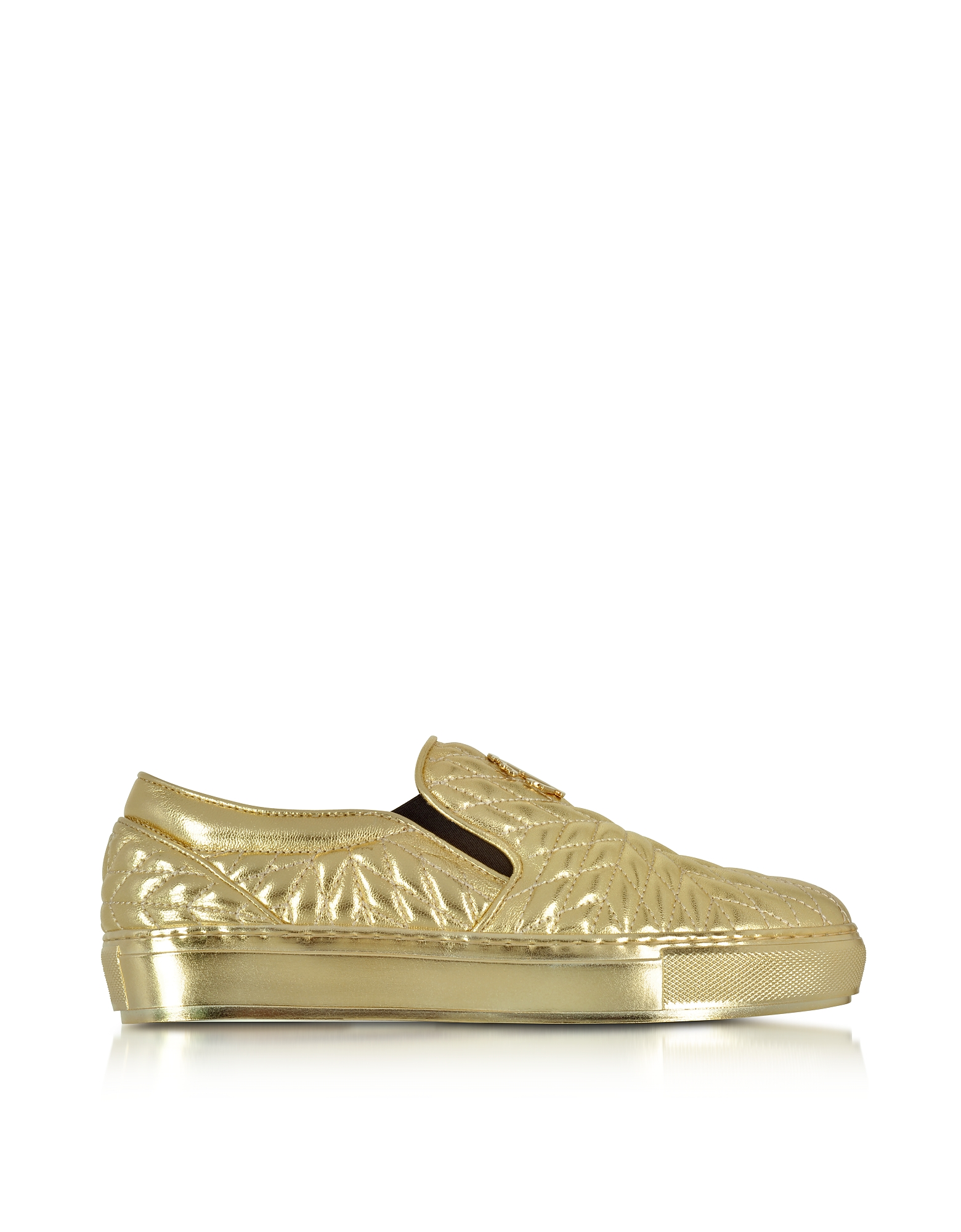 Roberto Cavalli Shoes, Laminated Nappa Star Quilted Leather Slip On Sneakers