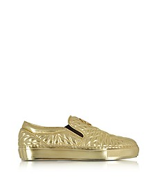 Laminated Nappa Star Quilted Leather Slip On Sneakers - Roberto Cavalli