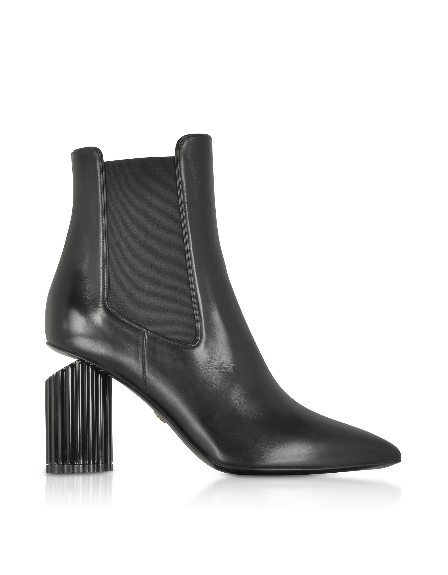 Roberto Cavalli Shoes, Black Leather Pointed Toe Heel Boots