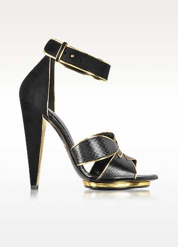 Angel Black Ayers Leather and Suede Sandal  - Roberto Cavalli