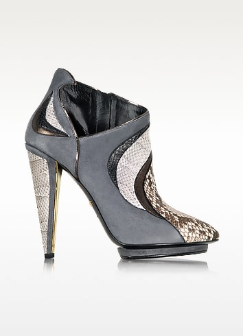 Fire Charcoal Suede and Ayers Bootie - Roberto Cavalli