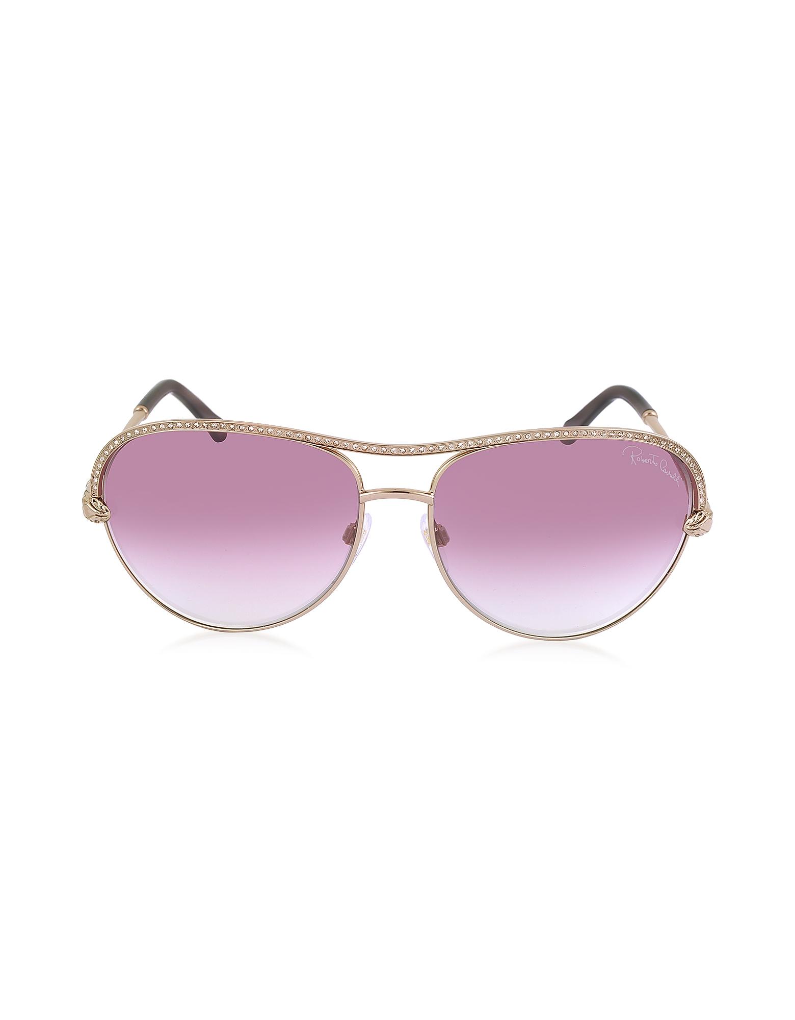 Roberto Cavalli Sunglasses, VEGA 1011 Metal Aviator Women's Sunglasses w/Crystals