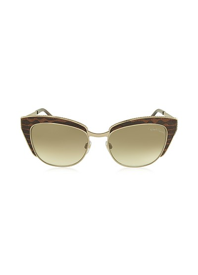 SUALOCIN 973S Gold Metal and Brown Animal Print  Acetate Cat Eye Sunglasses - Roberto Cavalli