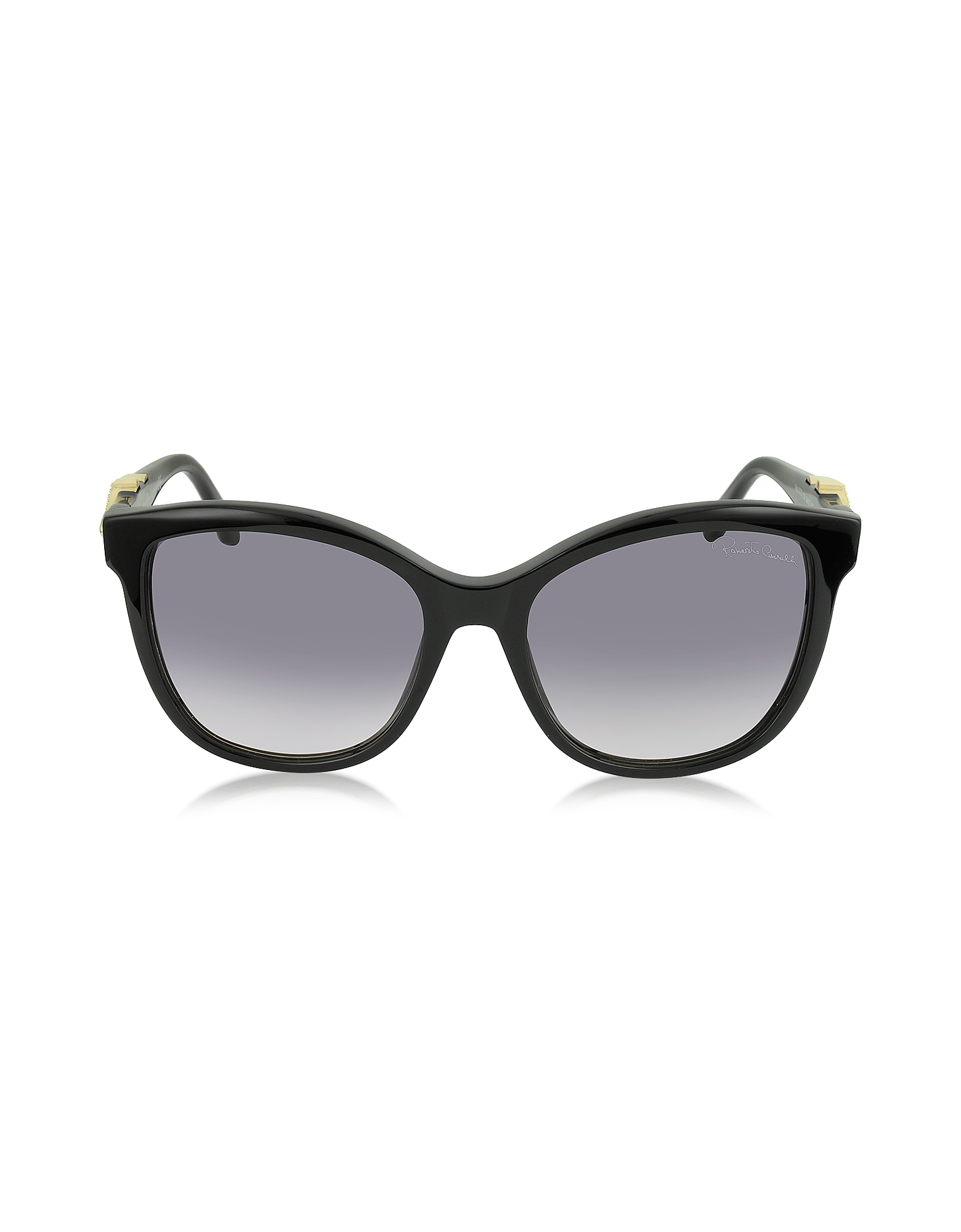 Roberto Cavalli Designer Sunglasses, Kraz 877S 01B Black Acetate Cat Eye Sunglasses w/Goldtone Details