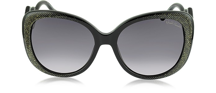 Mintaka 911S 05B Black & Glitter Gold Acetate Women's Sunglasses - Roberto Cavalli