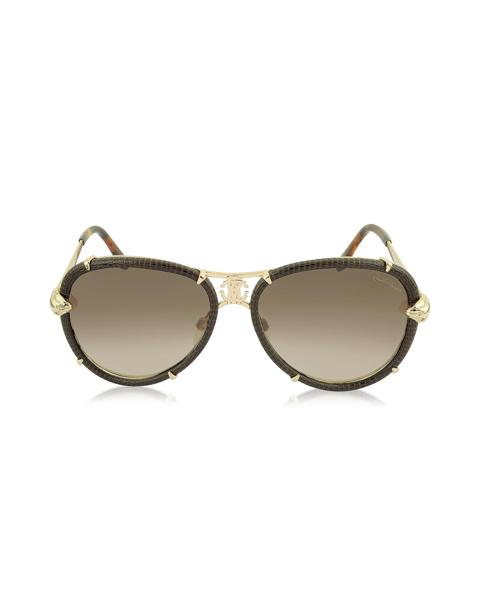 Roberto Cavalli Sunglasses, Mebsuta 885S Leather & Gold Metal Aviator Sunglasses