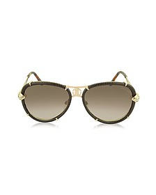 Mebsuta 885S Leather & Gold Metal Aviator Sunglasses - Roberto Cavalli