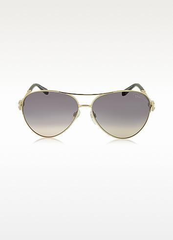 Muphrid 920S-A Metal Aviator Sunglasses w/Crystals - Roberto Cavalli