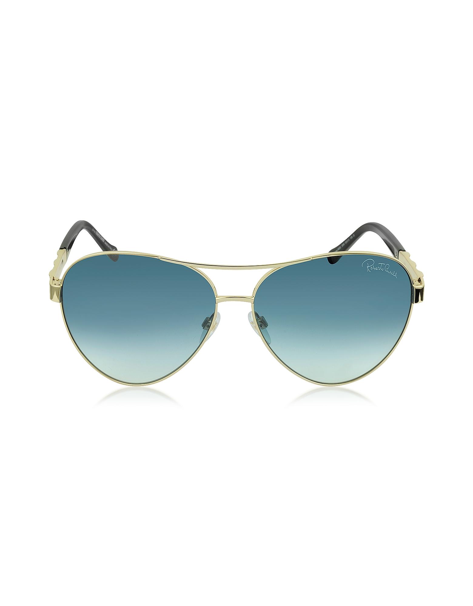 Roberto Cavalli Sunglasses, Merga 905S Gold Metal Aviator Sunglasses w/Crystals