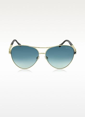 Merga 905S Gold Metal Aviator Sunglasses w/Crystals - Roberto Cavalli