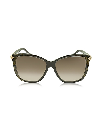 Roberto Cavalli - Menkent 902S 50G Brown Snake Print Cat Eye Sunglasses w/Goldtone Details