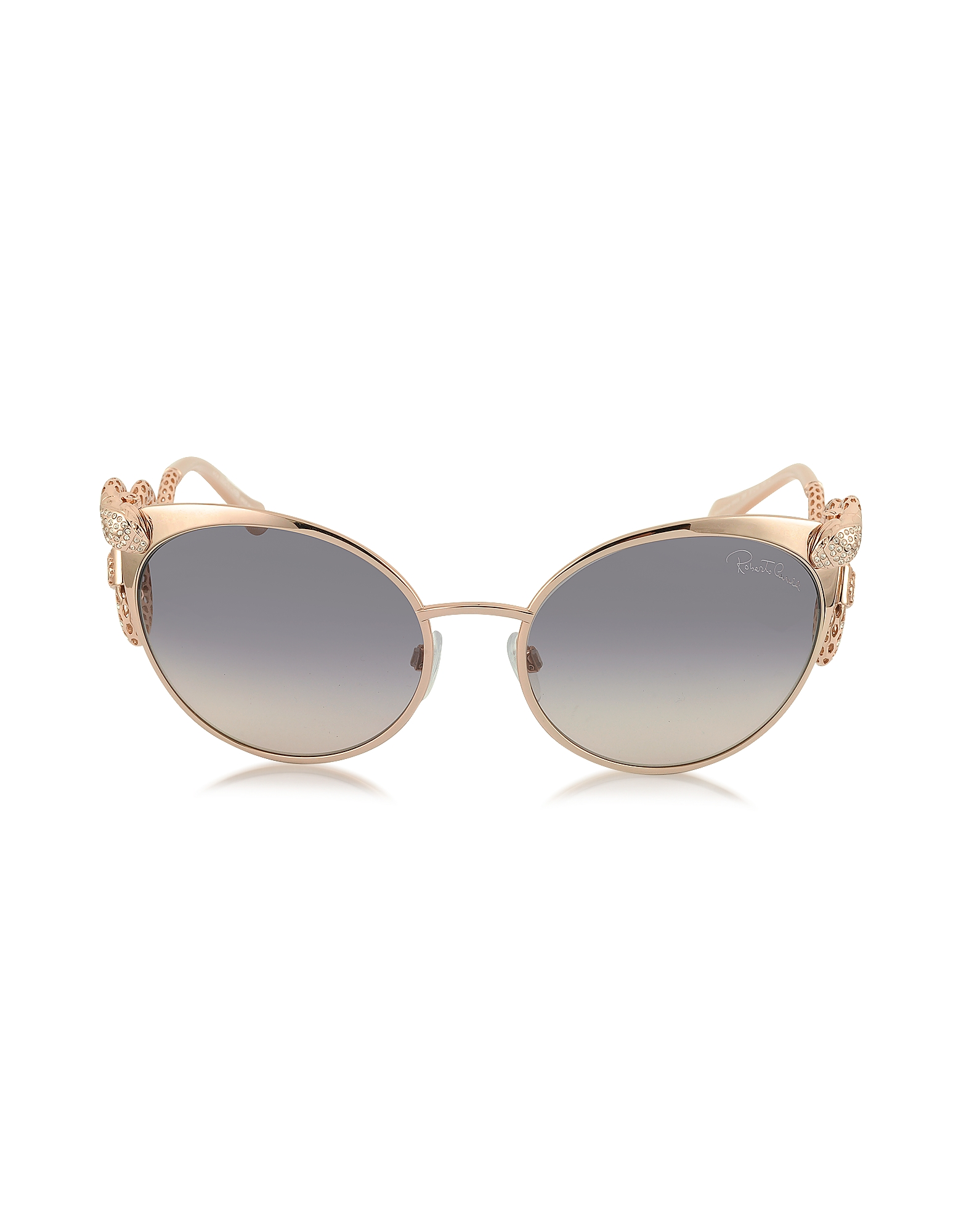 Roberto Cavalli Sunglasses, Menkalinan 890S 28F Goldtone Metal Cat Eye Women's Sunglasses w/Crystals