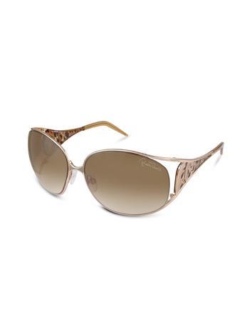 Roberto Cavalli Aloadi - Logo Leopard Temple Round Metal Sunglasses