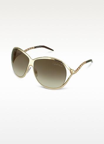 Morganite - Serpentine Temple Metal Sunglasses - Roberto Cavalli