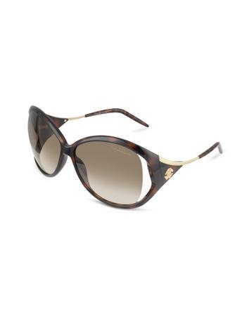Roberto Cavalli Clivia - Logo Temple Round Frame Sunglasses