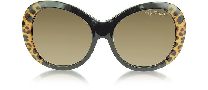 Full Moon 734S 05G Brown Leopard and Black Women's Sunglasses - Roberto Cavalli