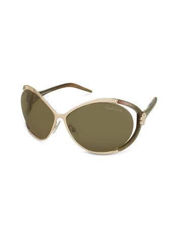 Roberto Cavalli Taigete - RC Swarovski Crystal Logo Round Sunglasses