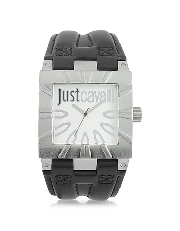 Just Cavalli - Timesquare 3H Silver Dial Black Strap Men's Watch