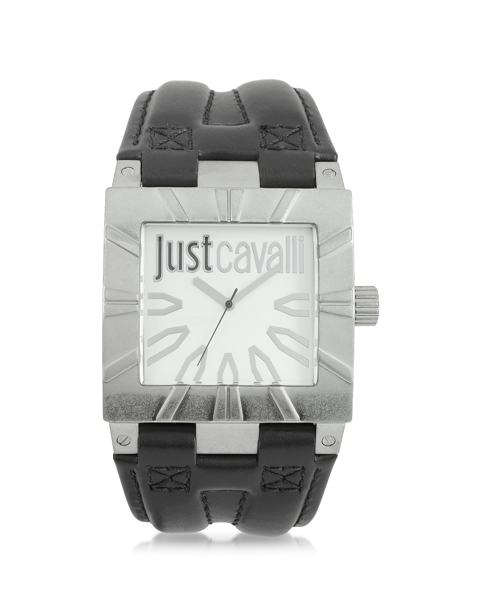 Just Cavalli Men's Watches, Timesquare 3H Silver Dial Black Strap Men's Watch