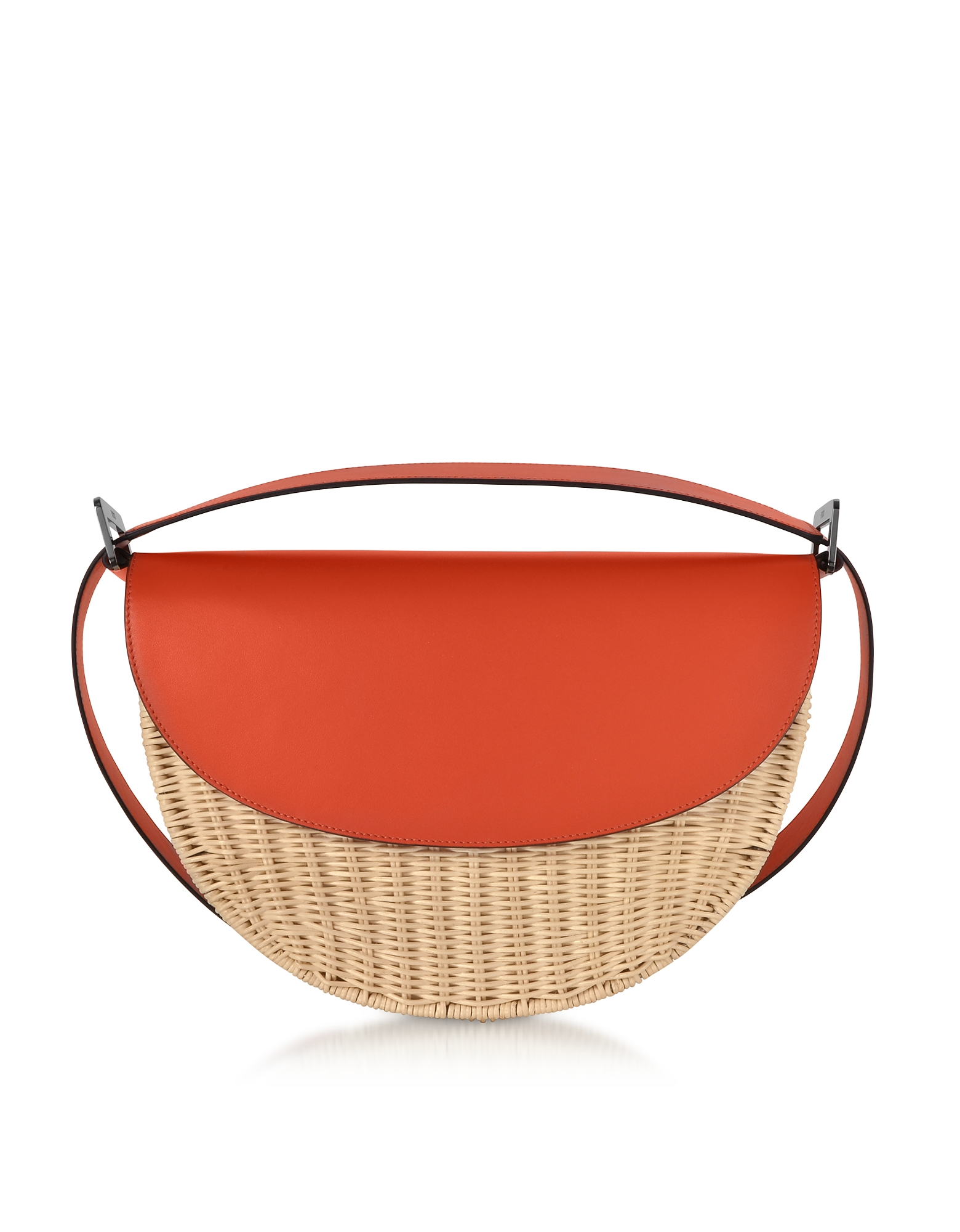 Rodo Handbags, Woven Wicker and Leather Half-Moon Shoulder Bag
