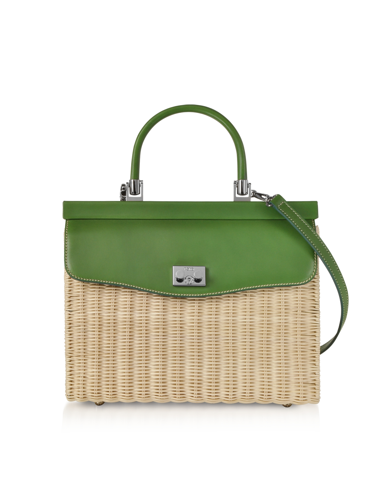 Rodo Handbags, Whitewashed Wicker and Leather Top-Handle Bag