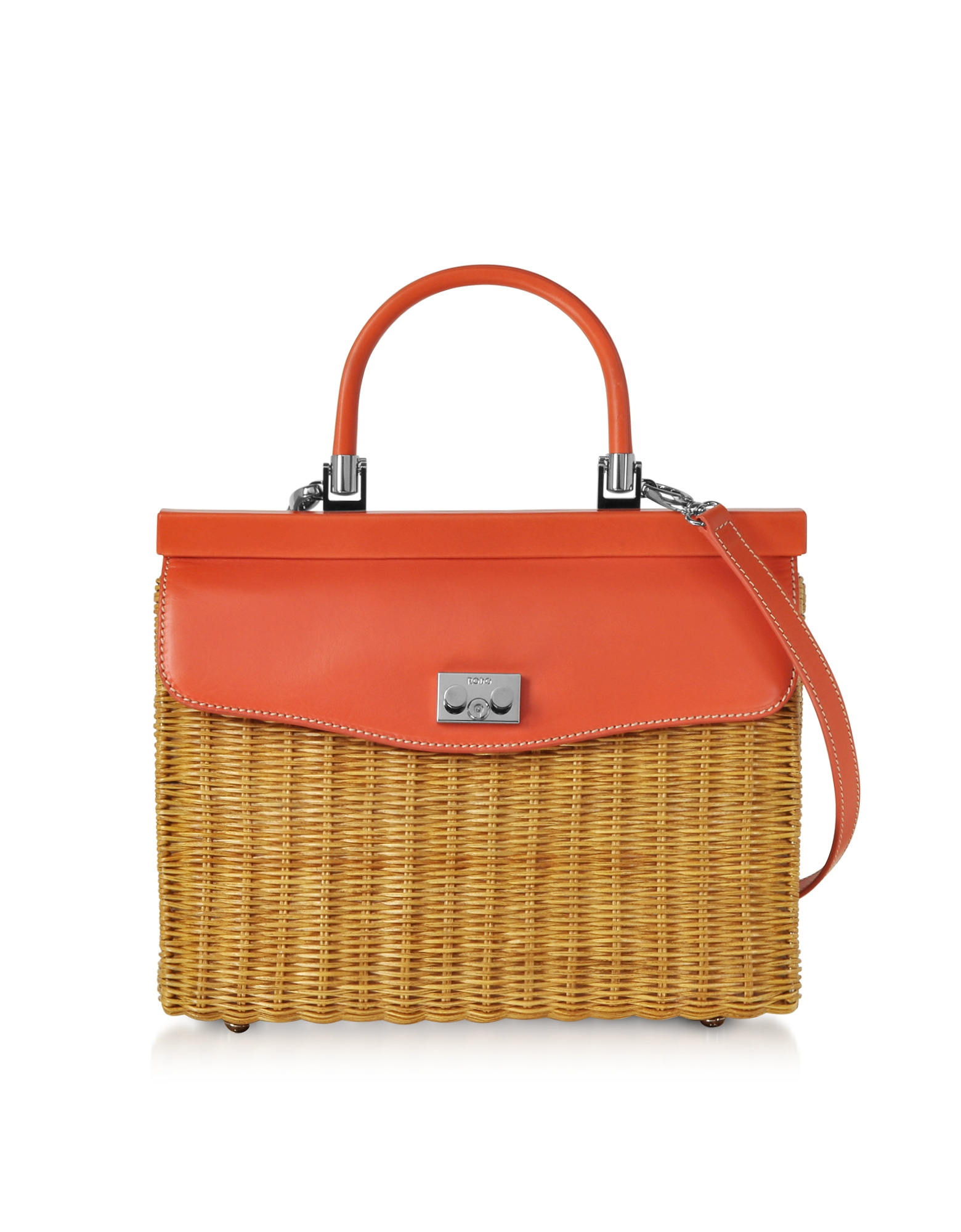Rodo Handbags, Natural Wicker and Leather Top-Handle Bag