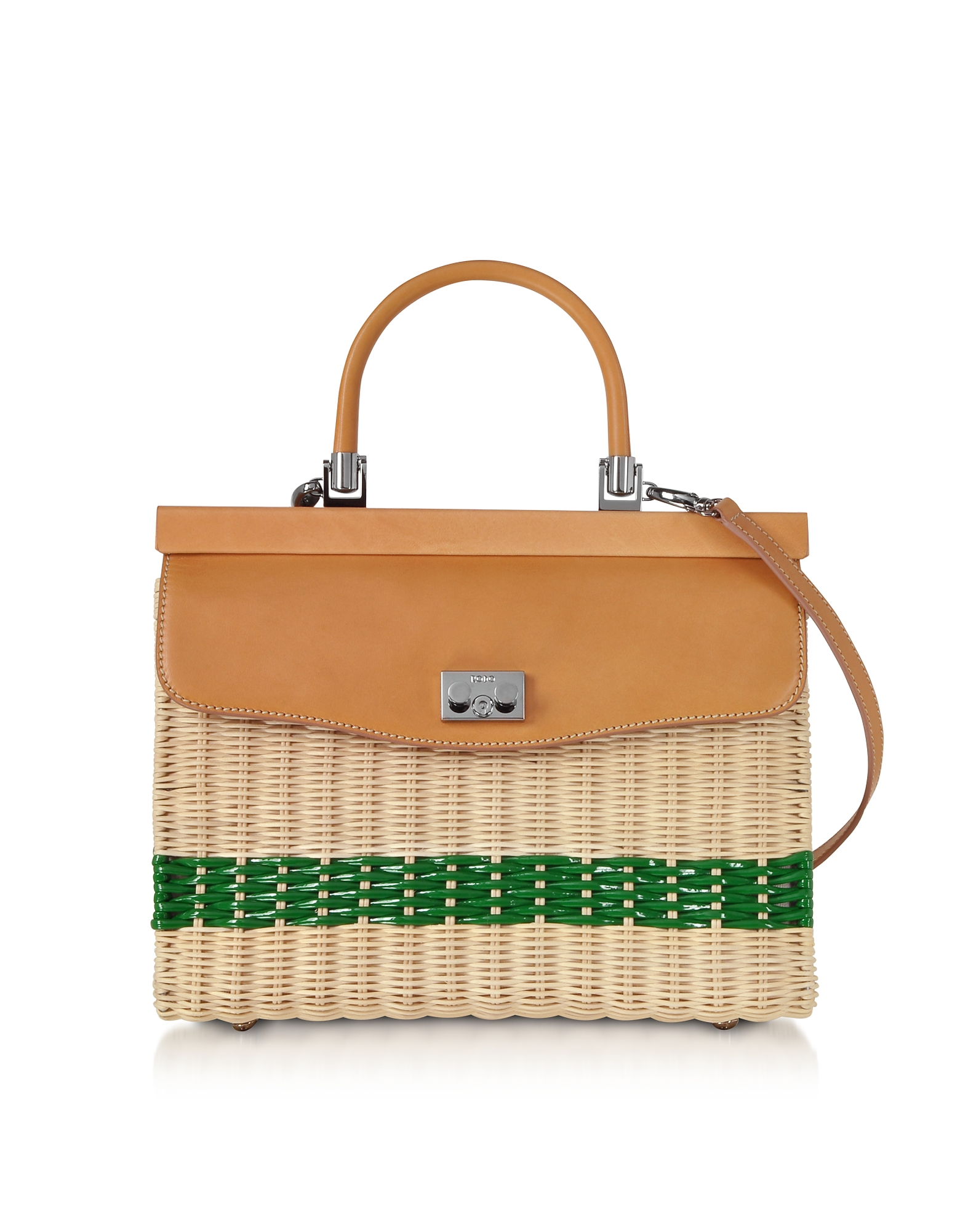 Woven Wicker and Leather Top-Handle Bag