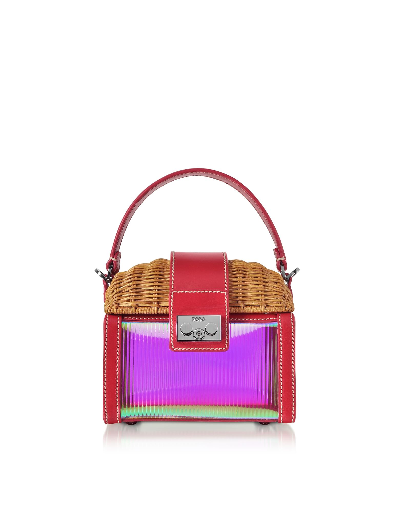 Rodo Designer Handbags, Natural Wicker and Leather Mini Bag