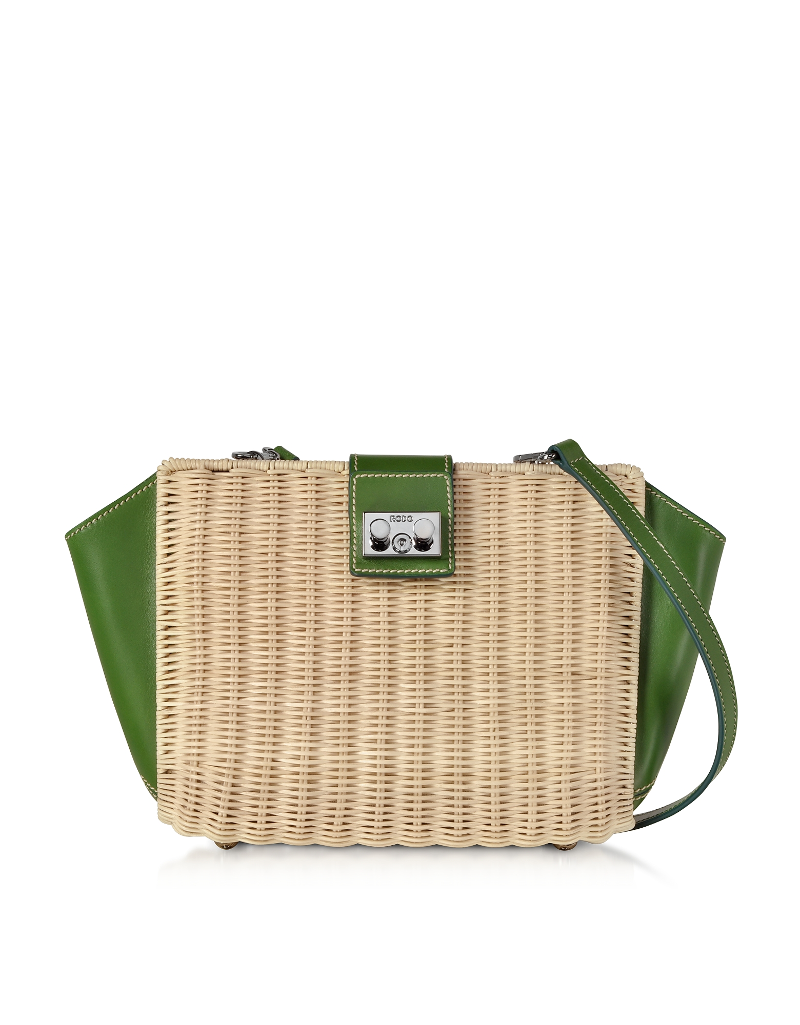 Whitewashed Wicker and Leather Trapeze Shoulder Bag