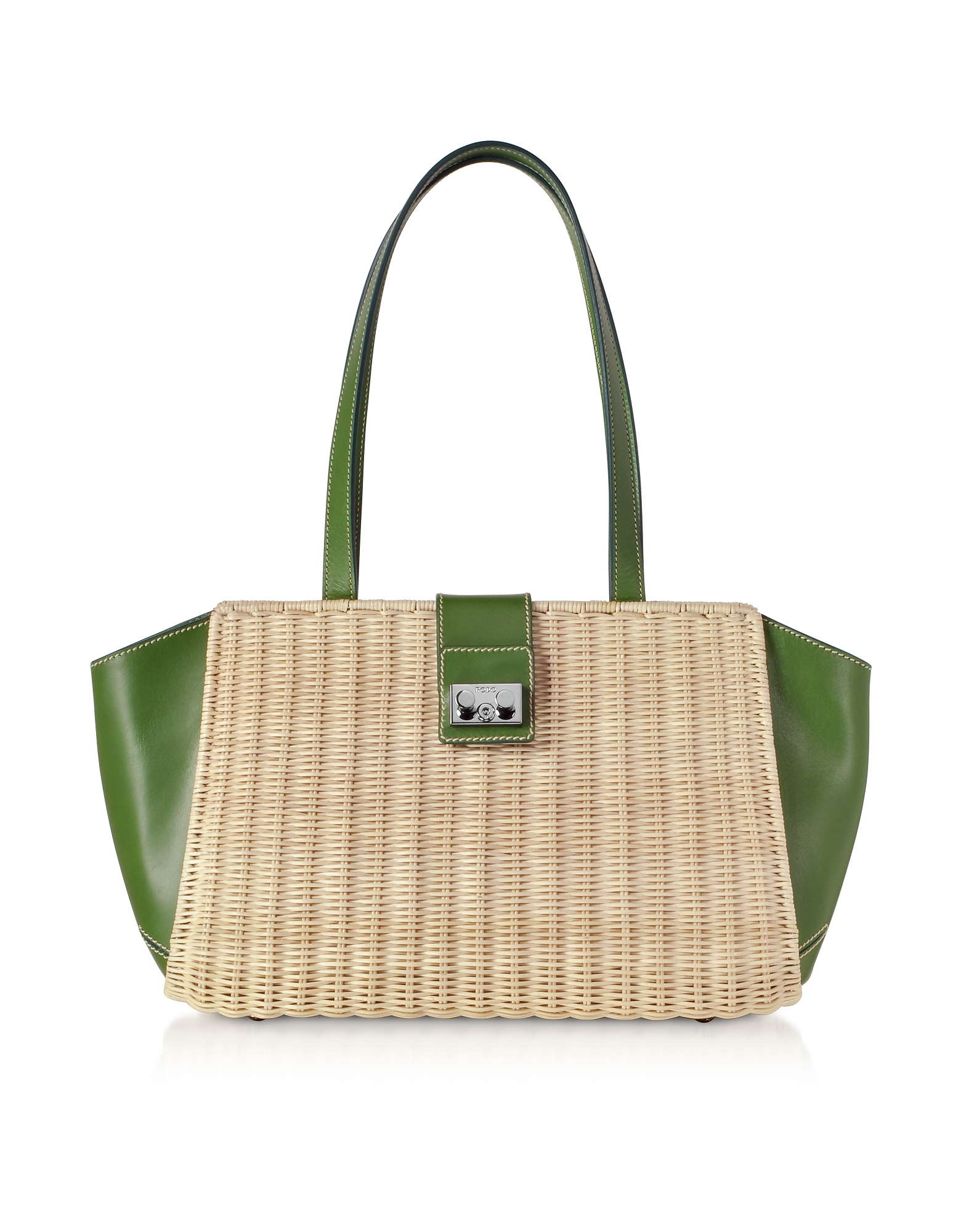 Whitewashed Wicker and Leather Trapeze Tote Bag