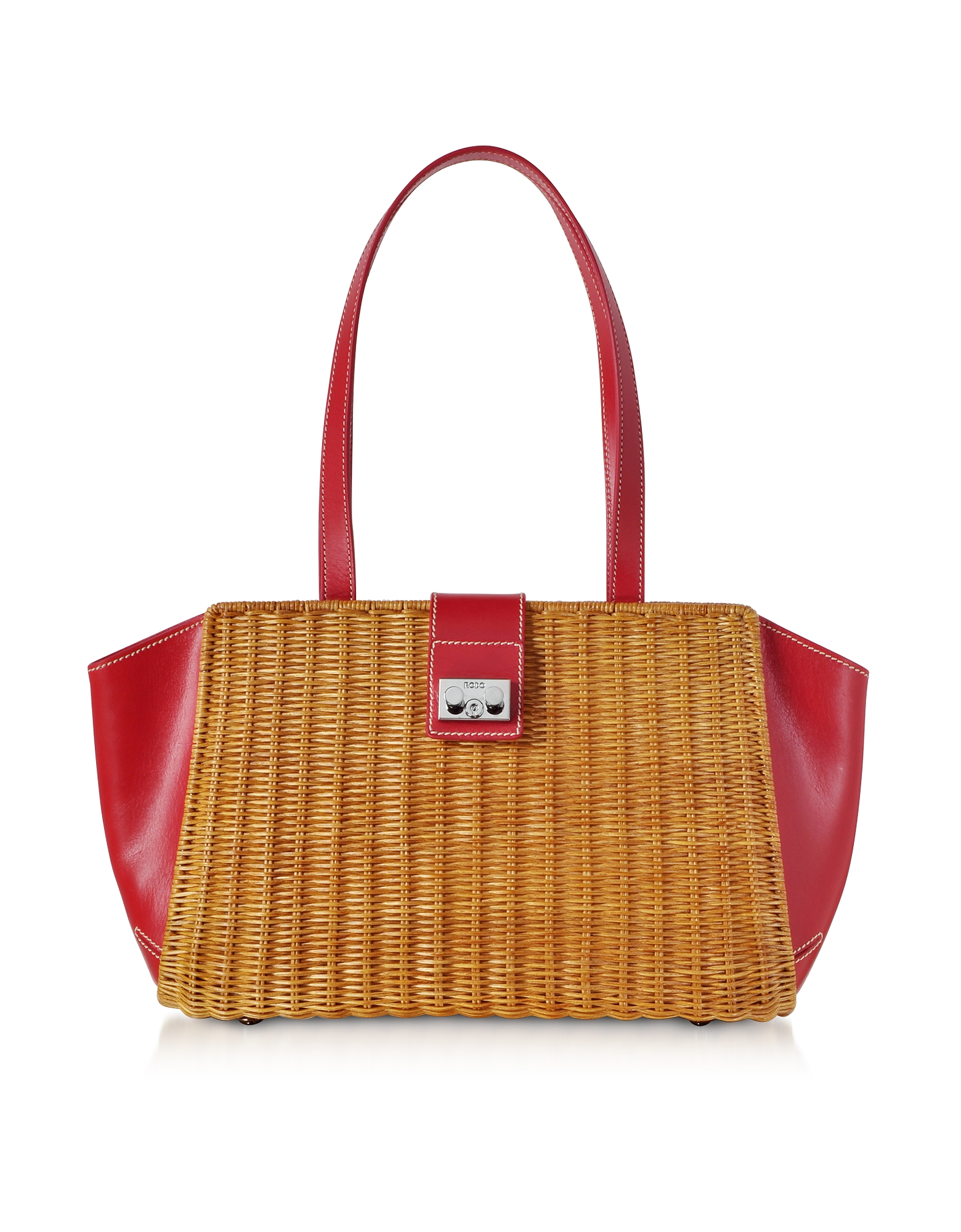 Wicker and Leather Trapeze Tote Bag