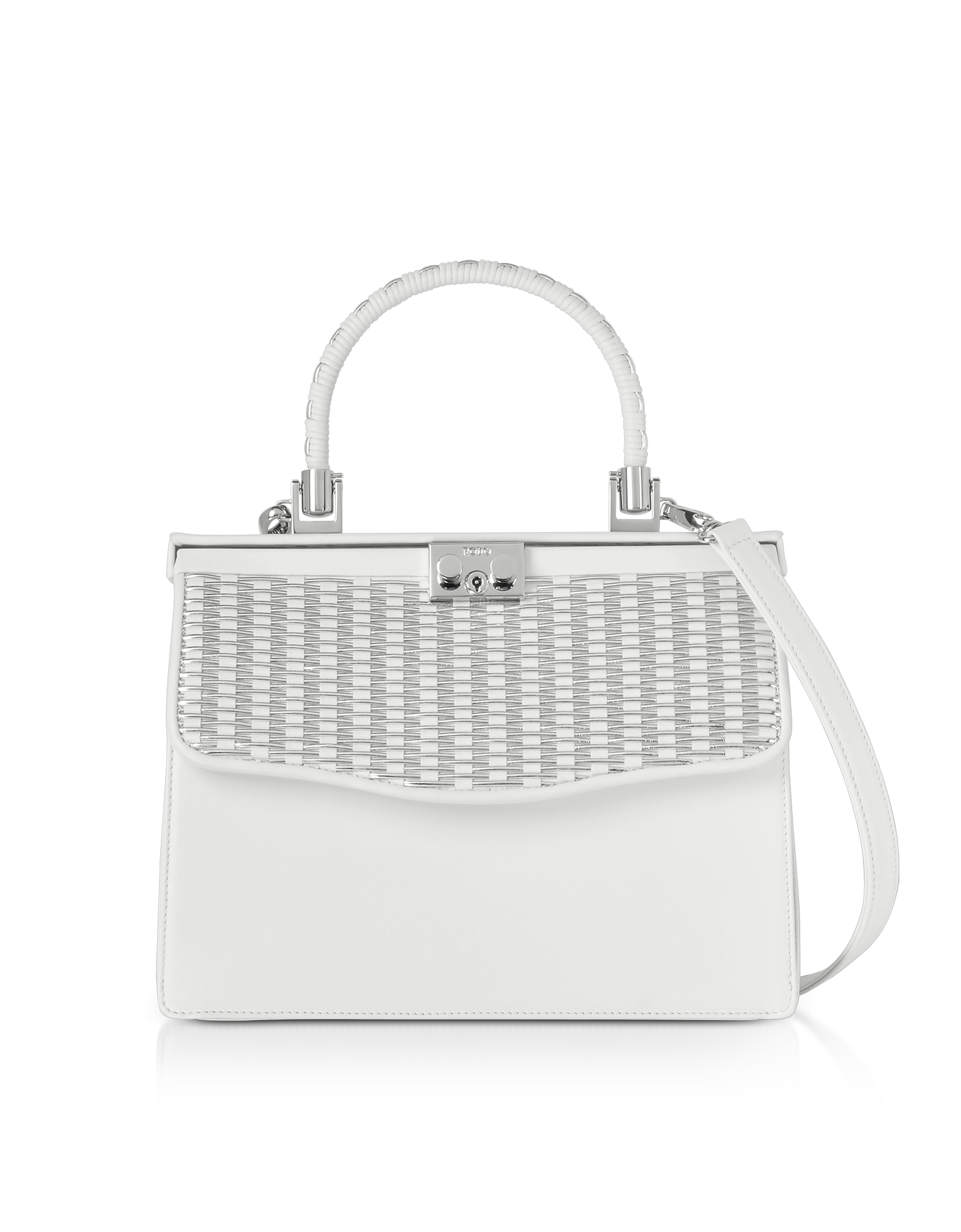 White Nappa Leather Top Handle Satchel Bag