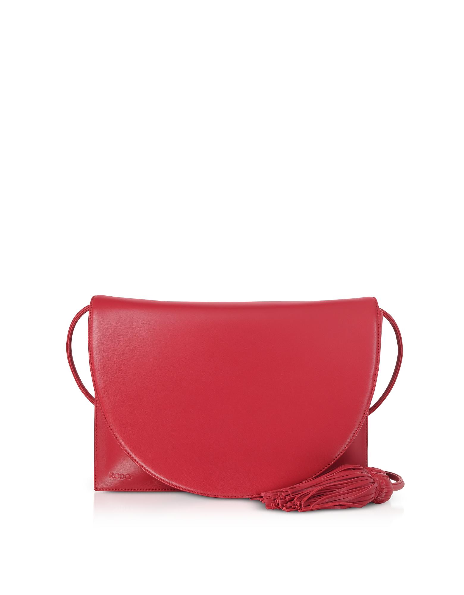 Magenta Red Nappa Leather Shoulder Bag