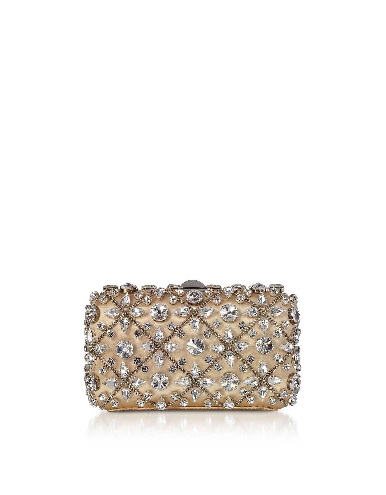 Light Gold Satin Tresor Clutch w/Crystals and Chain
